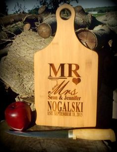 Mr and Mrs Personalized Cutting Board With by BPLaserEngraving