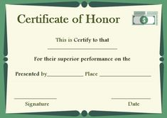 donation in honor of certificate template - Auction Certificate Template