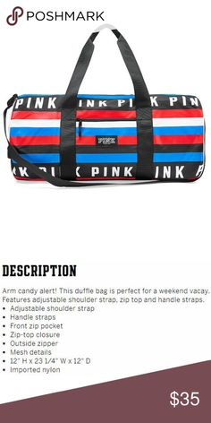 a6bc1ef17c VS Arm Candy Duffel Bag NEW! Stripe Red White Blue NWT
