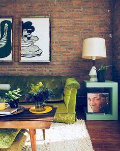 Living Room Ideas   Mid Century Modern   Coffee Table   Olive Green   Home Decor   Color Trend   Fall Season   Interior Design