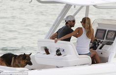 Cruising: Enrique Iglesias and Anna Kournikova - and their German shepherd Lucas
