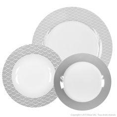 Caractéristiques techniques : Matière : porcelaine Forme : ronde Couleur : blanc et beige Motifs : vagues Composition : 6 assiettes plates : ...