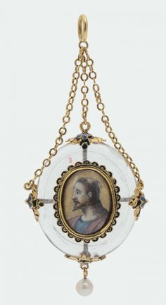 A rock crystal, gold and enamels pendant, Italian or Spanish goldsmith, 17th century