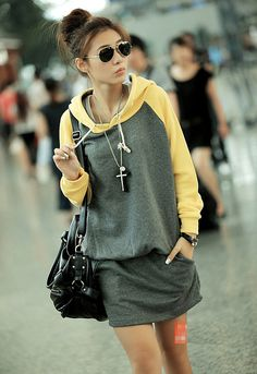 Winter Fashion Women's Hooded Style Mixed Color Dress Yellow