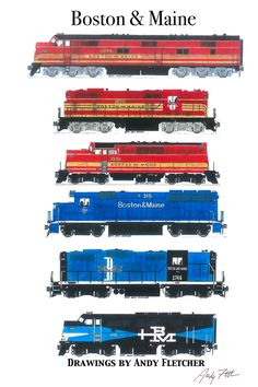 """An 11""""x17"""" poster with some of Andy Fletcher's hand drawings of Boston & Maine locomotives."""