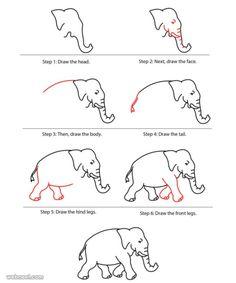Easy Drawings For Kids, Drawing For Kids, Drawing Tips, Pencil Drawing Tutorials, Drawing Ideas, Pencil Drawings, Elephant Sketch, Elephant Artwork, Bear Drawing