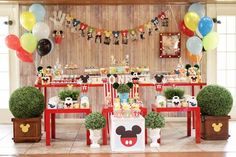 Main partyscape from a Colorful Mickey Mouse 1st Birthday Party at Kara's Party Ideas. See it all at karaspartyideas.com!