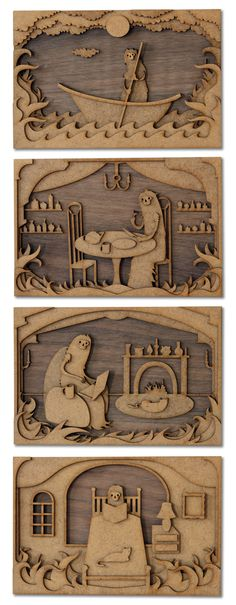 The Loneliness of Charon by mtomsky    MDF and walknut, laser cut, layered illustrations.
