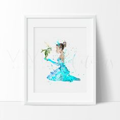 Disney Tiana Princess and the Frog Nursery Art Print Wall Decor. This art illustration is a composition of digital watercolor images and silhouettes in a minimalist style.