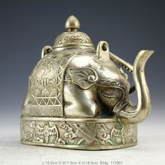 Collection Chinese Handwork Carve Elephant Teapot