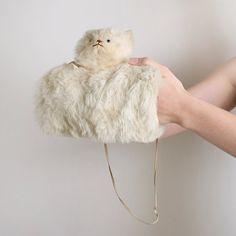 delicate vintage cream white rabbit fur kitten muff