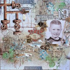Scraps of Darkness: Weathered and Worn kit - Mixed Media layout by Amy Lassiter.  www.scrapsofdarkness.com