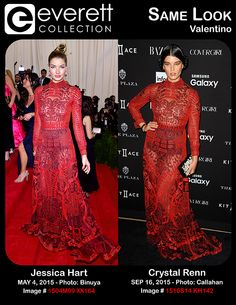 """Jessica Hart (wearing a Valentino gown from the 2013 """"Shanghai"""" collection) at arrivals for 'CHINA: Through The Looking Glass' Opening Night Met Gala - Part 1, The Metropolitan Museum of Art Costume Institute, New York, NY May 4, 2015. Photo By: Gregorio T. Binuya/Everett Collection *** Crystal Renn (wearing a Valentino gown) at arrivals for Harper's Bazaar September Icons Party, The Plaza Hotel, New York, NY September 16, 2015. Photo By: Kristin Callahan/Everett Collection"""