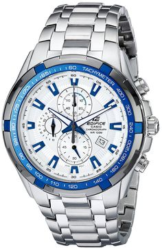 Casio Men's EF539D-7A2 Edifice Stainless Steel Analog  White Dial Chronograph Watch -- Details can be found by clicking on the image.