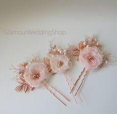 Rose Gold Hair Pin Wedding Hair Pin Bridal Hair Pins Bridal Headpiece Bridal Hairpiece Bridal Hair Piece by GlamourWeddingShop on Etsy