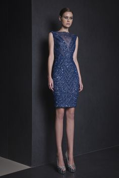 Tony Ward RTW Spring 2015 Style 08 Fully embroidered Midnight Blue short dress in Lace with V neckline.