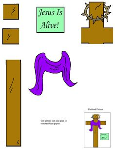 "Easter ""Jesus Is Alive"" Cross Cutout Sheet for kids. Have the kids cut the cross out and assemble onto construction paper."
