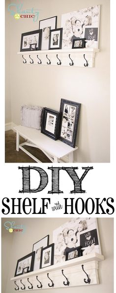 room diy shelf DIY Shelf with Hooks! (Cute southern idea to use as a mantle for Christmas stockings! Easy Home Decor, Cheap Home Decor, Hm Deco, Diy Regal, Apartment Entryway, Apartment Design, Apartment Therapy, Shanty 2 Chic, Home And Deco