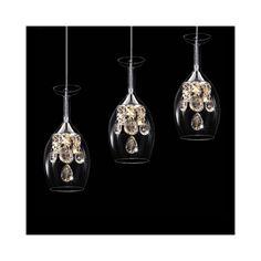 LEDペンダントライト 天井照明 ワイングラス照明 クリスタル付照明 杯特集 3灯