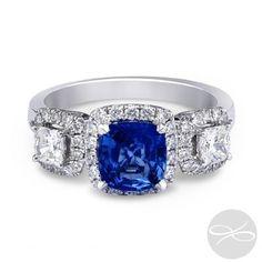 Sapphire Giselle Trilogy II Diamond Palace Sapphire Cushion Halo #diamondpalace #sapphire #halo #diamonds