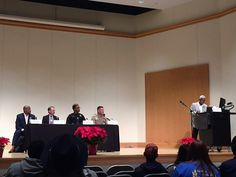 Capt Seifert and MCSO at a forum at CPCC, discussing police and community relations.