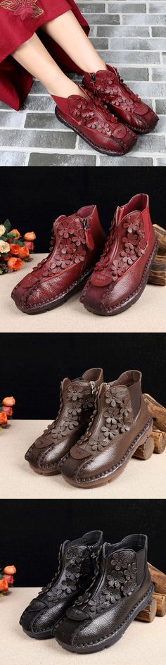 US$41.12  SOCOFY Vintage Ankle Handmade Flora Soft Leather Boots