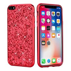 PHEZEN iPhone 6S Case,iPhone 6 Case, iPhone 6 6S Bling Glitter Sparkle Cute Phone Case with Chrome Frame Shockproof Hard PC Back Slim Protective Shiny Diamond Case Cover for iPhone 6/6S - Red