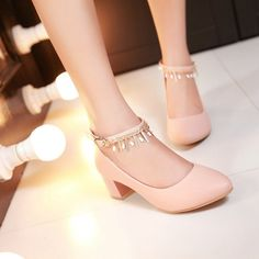 Round Toe Womens High Heel Shoes Ankle Straps Pumps Chains Dress Shoes Source by shoes Fancy Shoes, Pretty Shoes, Cute Shoes, Beautiful Shoes, Womens Shoes Wedges, Womens High Heels, Dress Shoes, Shoes Heels, Dress Outfits