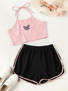 Really Cute Outfits, Cute Lazy Outfits, Crop Top Outfits, Pretty Outfits, Stylish Outfits, Girls Fashion Clothes, Teen Fashion Outfits, Mode Outfits, Cute Pajama Sets