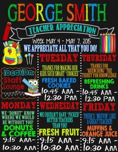 Teacher appreciation week schedule invite or by CustomPrintablesNY