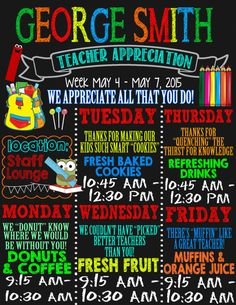 Teacher appreciation week schedule invite or by CustomPrintablesNY