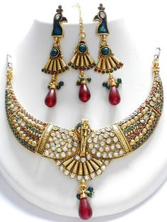 Exclusive set of high quality copper based polki jewellery set, This polki…