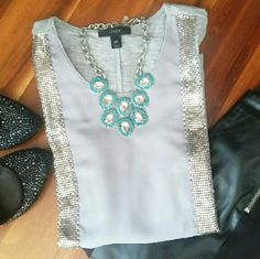 J.Crew | gray -silver top Goegeous J.Crew top. With front sheer panel and metal side details (see pics for details). Back in solid gray cotton fabric. Slightly longer on back. Thanks for visit my closet!    ▶ Condition: EUC. No flaws    ▶ No trades    ▶ Ask any question :) J. Crew Tops Tank Tops