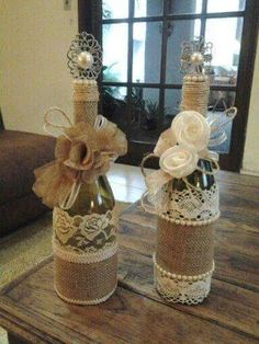 Wine bottle decor with lace, burlap, & yarn. I put some cute flowers in mine and turned it into a flower vase Wine Bottle Corks, Diy Bottle, Wine Bottle Crafts, Mason Jar Crafts, Bottle Stoppers, Mason Jars, Bottles And Jars, Glass Bottles, Wine Bottles Decor