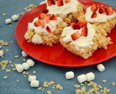 Strawberry Shortcake Rice Krispies! Perfect summer snack! :)