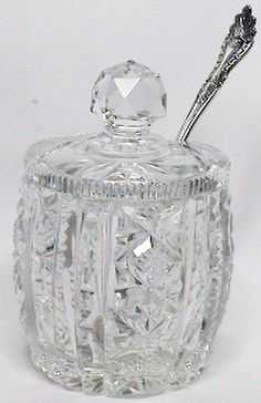 Abp American Brilliant Cut Crystal Glass Condiment Jam Mustard Jar w Lid Spoon | eBay
