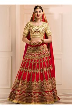 Red Banglori Silk Wedding Wear Heavy Embroidery Work Lehenga Choli