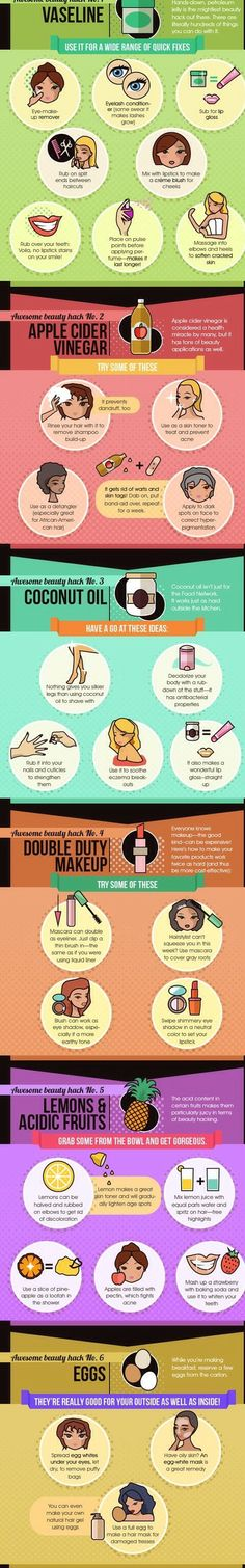 SIX AMAZING BEAUTY HACKS [INFOGRAPHIC]..Six awesome beauty hacks using Vaseline, apple cider vinegar, coconut oil, acidic fruits, eggs and double duty makeup.