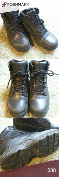 Danner Gore-Tex Boots Black leather hiking or work boots in good condition all black leather same cops and military wear. Danner Shoes Combat & Moto Boots