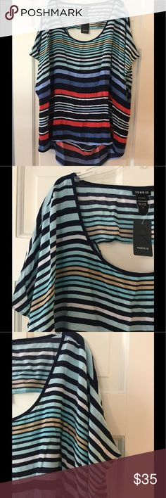 """🆕➕ torrid 3 open back hi lo dolman top 100% rayon. Hand wash.  Length 28-34"""".  Brand new with tag.  Smoke free and pet free. torrid Tops"""