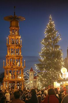 Christmas market in Dresden, Germany. (My mother-in-law is from Dresden! Christmas In Germany, German Christmas Markets, Christmas In The City, Christmas Markets Europe, Christmas Scenes, Noel Christmas, All Things Christmas, Christmas Lights, Christmas Destinations