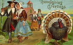 bumble button: Thanksgiving Free Clip Art from Antique Postcards - turkeys and pilgrims-