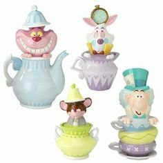 Disney Alice in Wonderland Cookie Jar Canister Set 4. I have the Cheshire. Impossible to find online