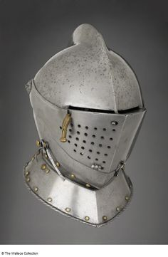 Close-helmet Circle of Anton Peffenhauser (c. 1525 - Augsburg, Germany c. 1590 Iron or steel, leather, and copper alloy Height: cm Weight: kg European Armoury II Medieval Helmets, Medieval Weapons, Knight In Shining Armor, Knight Armor, Army Helmet, German Helmet, Ancient Armor, Knights Helmet, Cardboard Sculpture