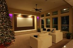 Eskimo phur covered sactionals in this customer's home theater room #Lovesac