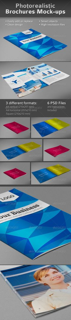 Easy to replace pages with your designs using smart objects, double click place your p Free Mockup Templates, Graphic Design Templates, Print Templates, Flyer Template, Mockup Photoshop, Best Graphics, Presentation Templates, Booklet, 3 D