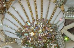 Beach Cottage Shimmer Collection Rainbow of Colors Jeweled Clam Shell Treasure-beach, cottage, chic, sparkling, rhinestones, Saworvski,
