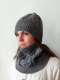 Knitted grey woman aran hat and cowl set, knit snood / cowl,  knit neck warmer, women's knit winter hat,  grey aran hat, cable hat by SanniKnitting on Etsy