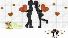 This Pin was discovered by Emi Wedding Cross Stitch, Cross Stitch Heart, Cross Stitch Cards, Cute Cross Stitch, Cross Stitch Alphabet, Cross Stitching, Cross Stitch Embroidery, Cross Stitch Patterns, Loom Patterns