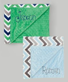 Look what I found on #zulily! Kelly Green & Baby Blue Zigzag 26x30 Blanket Set by Lolly Gags #zulilyfinds
